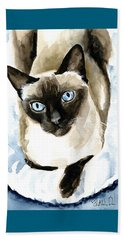 Guardian Angel - Siamese Cat Portrait Beach Towel