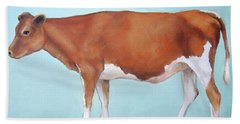Guernsey Cow Standing Light Teal Background Beach Towel