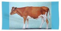 Guernsey Cow Standing Light Teal Background Beach Towel