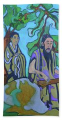 Beach Sheet featuring the painting Gugin-seven Strings by Denise Weaver Ross
