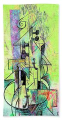 Guitar Abstract In Green Beach Towel