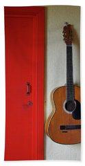 Guitar And Red Door Beach Towel
