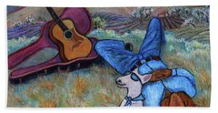 Guitar Doggy And Me In Wine Country Beach Towel