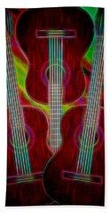 Beach Towel featuring the digital art Guitar Fantasy Four by Richard Farrington