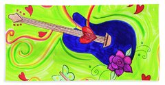 Guitar In The Sky Beach Towel