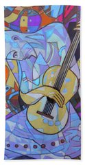 Beach Towel featuring the painting Guitar-six Strings by Denise Weaver Ross