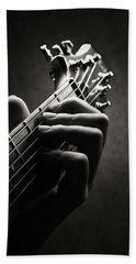 Guitarist Hand Close-up Beach Towel