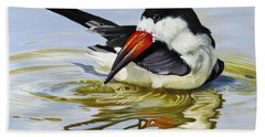 Beach Towel featuring the painting Gulf Coast Black Skimmer by Phyllis Beiser