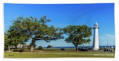 Gulf Coast Lighthouse Seascape Biloxi Ms 3663b Beach Towel