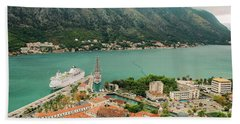 Gulf Of Kotor With Cruise Liner Beach Towel