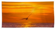 Gull At Sunrise Beach Towel
