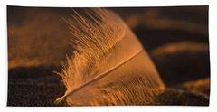 Gull Feather At Sunset Beach Sheet
