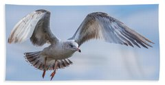 Gull Hover In Gray Beach Towel by Jeff at JSJ Photography