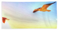 Gull In Sky Beach Towel