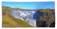 Gullfoss Falls Beach Sheet by Allan Levin