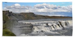Gullfoss Waterfall Iceland Vi Beach Sheet by Marianne Campolongo