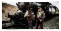 Gunfighters In Front Of Old Train Beach Towel