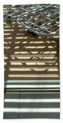 Gurneys Under A Pergola Through A Picture Window Beach Towel by Stan  Magnan