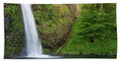 Beach Towel featuring the photograph Gushing Horsetail Falls by Greg Nyquist