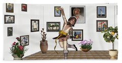 Beach Towel featuring the mixed media Digital Exhibartition _  Dancing Girl  by Pemaro