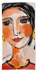 Beach Towel featuring the digital art Gypsy Lady by Elaine Lanoue