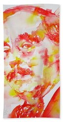 Beach Sheet featuring the painting H. G. Wells - Watercolor Portrait by Fabrizio Cassetta