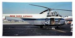 H406a, New York Airways, Skybus At Idlewild International Airpor Beach Sheet by Wernher Krutein