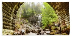 Beach Towel featuring the photograph Hadlock Falls Under Carriage Road Arch by Jeff Folger