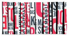 Beach Towel featuring the mixed media Haiku In Red And Black by Elena Nosyreva