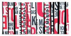 Haiku In Red And Black Beach Towel by Elena Nosyreva