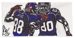 Hakeem Nicks And Victor Cruz Beach Sheet by Jeremiah Colley