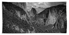 Half Dome And El Capitan In Black And White Beach Towel by Rick Berk