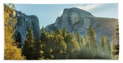 Half Dome And Merced River Autumn Sunrise Beach Towel