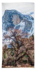 Half Dome Meadow Tree Winter Beach Towel