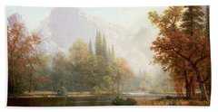 Half Dome Yosemite Beach Towel by Albert Bierstadt