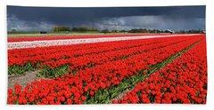 Half Side Red Tulips Field Beach Towel by Mihaela Pater