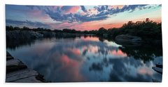 Halibut Pt Quarry Reflection Rockport Ma Beach Towel by Michael Hubley