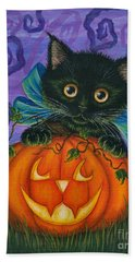 Halloween Black Kitty - Cat And Jackolantern Beach Towel