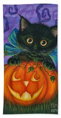 Beach Towel featuring the painting Halloween Black Kitty - Cat And Jackolantern by Carrie Hawks