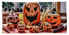 Beach Towel featuring the photograph Halloween Display by Wendy McKennon
