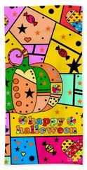 Beach Towel featuring the digital art Halloween Popart By Nico Bielow by Nico Bielow