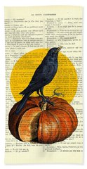 Halloween Pumpkin And Crow Decoration Beach Towel