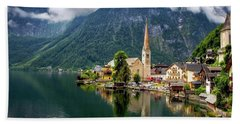 Hallstatt Across The Lake, Austria  Beach Towel