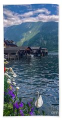Beach Towel featuring the photograph Hallstatt Swan by Jacqueline Faust