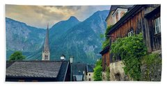 Beach Towel featuring the photograph Hallstatt Village Stroll by Jacqueline Faust