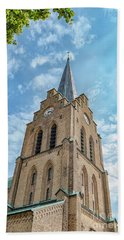 Beach Towel featuring the photograph Halmstad Church In Sweden by Antony McAulay