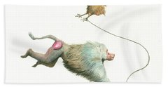 Hamadryas Baboon With Hen Beach Towel