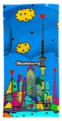 Beach Towel featuring the digital art Hamburg Popart By Nico Bielow by Nico Bielow