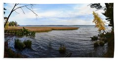 Beach Towel featuring the photograph Hamlin Lake In Autumn by Michelle Calkins