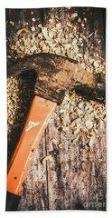 Hammer Details In Carpentry Beach Towel
